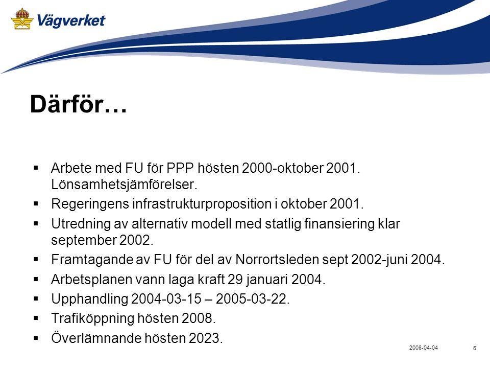 Därför… Arbete med FU för PPP hösten 2000-oktober 2001. Lönsamhetsjämförelser. Regeringens infrastrukturproposition i oktober 2001.