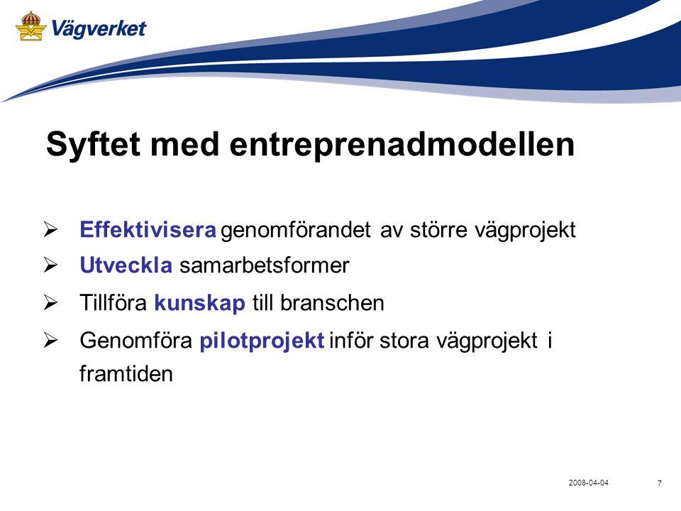 Syftet med entreprenadmodellen