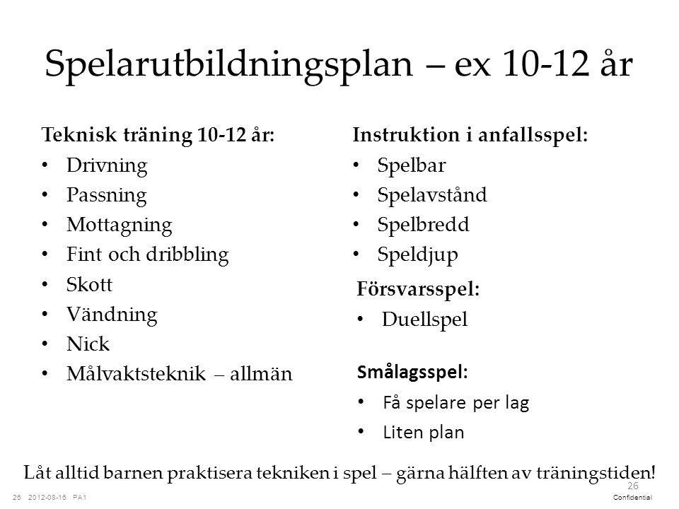 Spelarutbildningsplan – ex 10-12 år