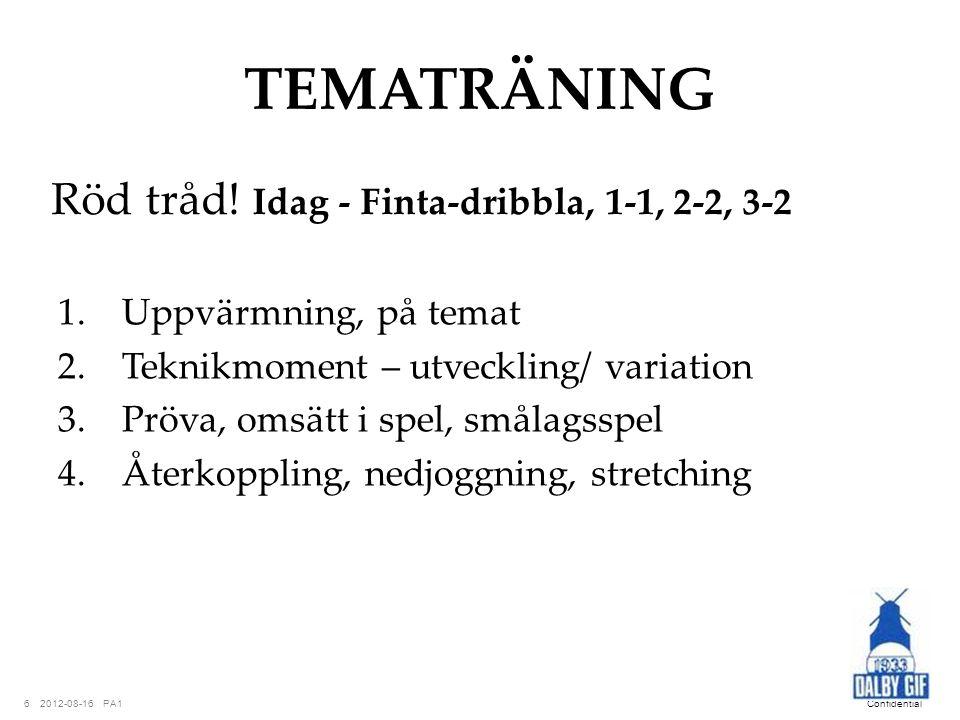 TEMATRÄNING Röd tråd! Idag - Finta-dribbla, 1-1, 2-2, 3-2