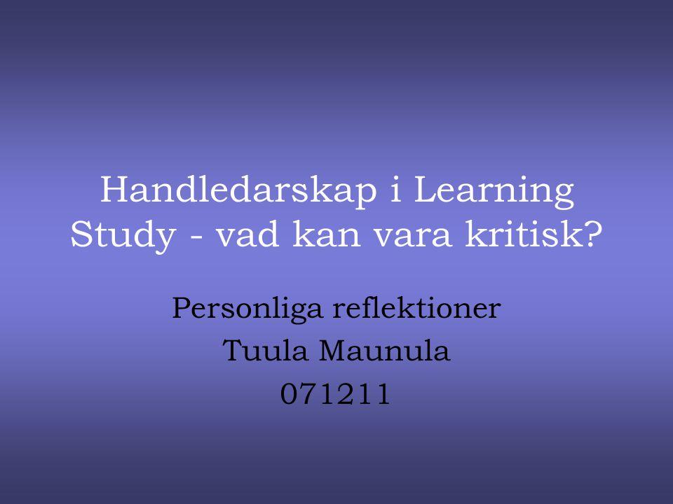 Handledarskap i Learning Study - vad kan vara kritisk