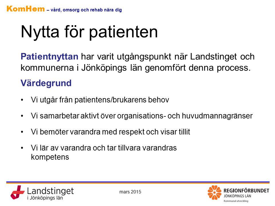 Nytta för patienten Patientnyttan har varit utgångspunkt när Landstinget och kommunerna i Jönköpings län genomfört denna process.