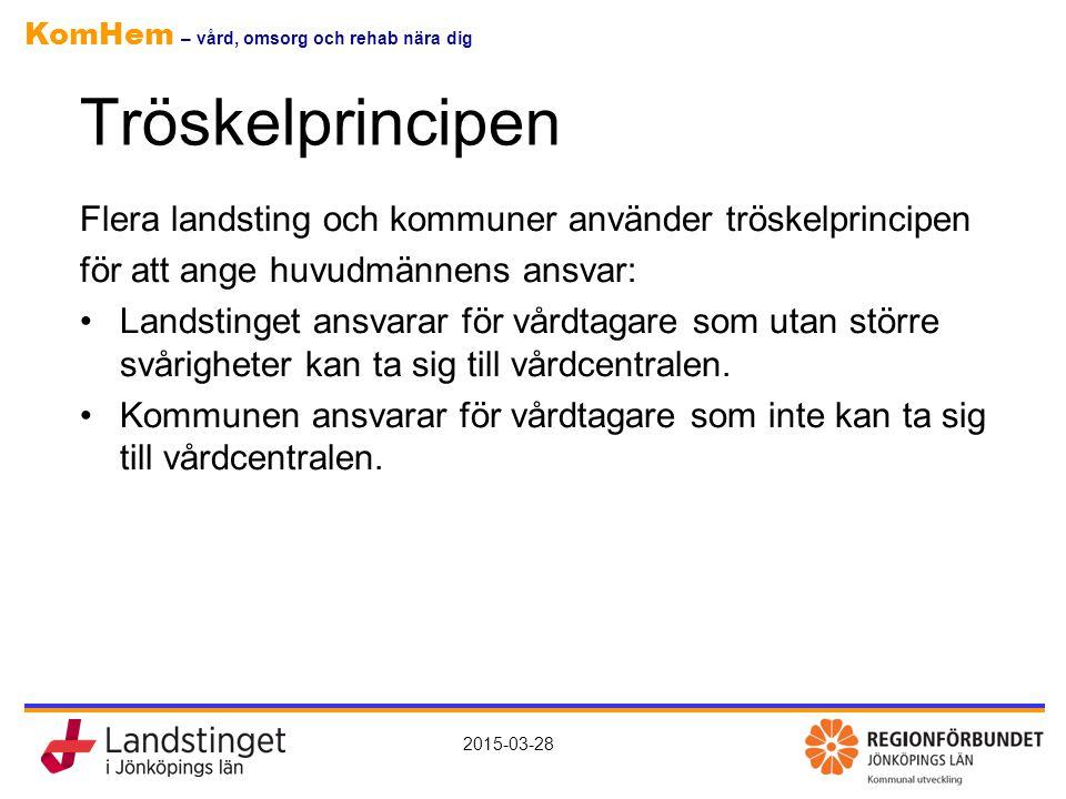 Tröskelprincipen Flera landsting och kommuner använder tröskelprincipen. för att ange huvudmännens ansvar: