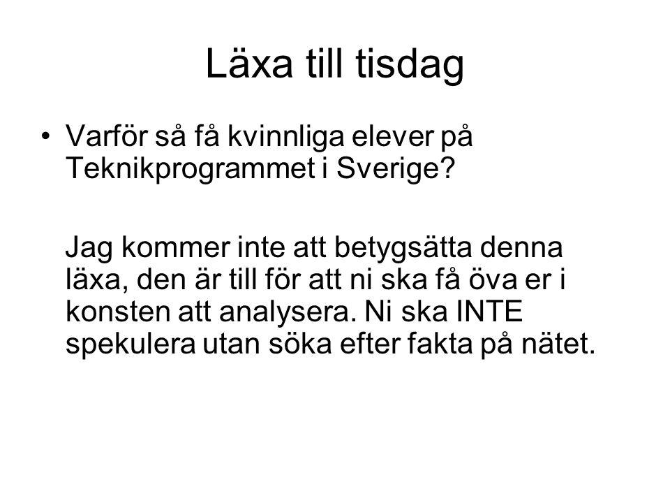 Läxa till tisdag Varför så få kvinnliga elever på Teknikprogrammet i Sverige