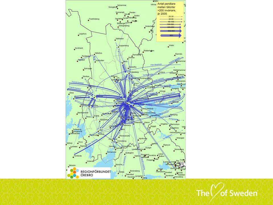 Kartan visar antal arbetspendlare mellan tätorter.