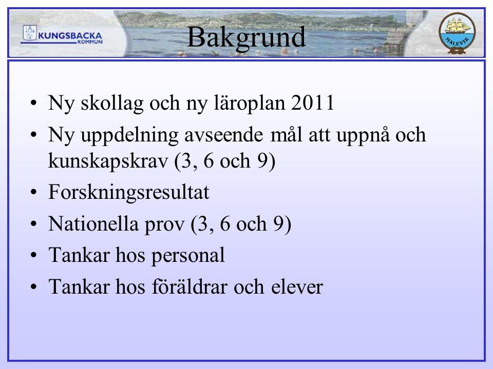 Bakgrund Ny skollag och ny läroplan 2011