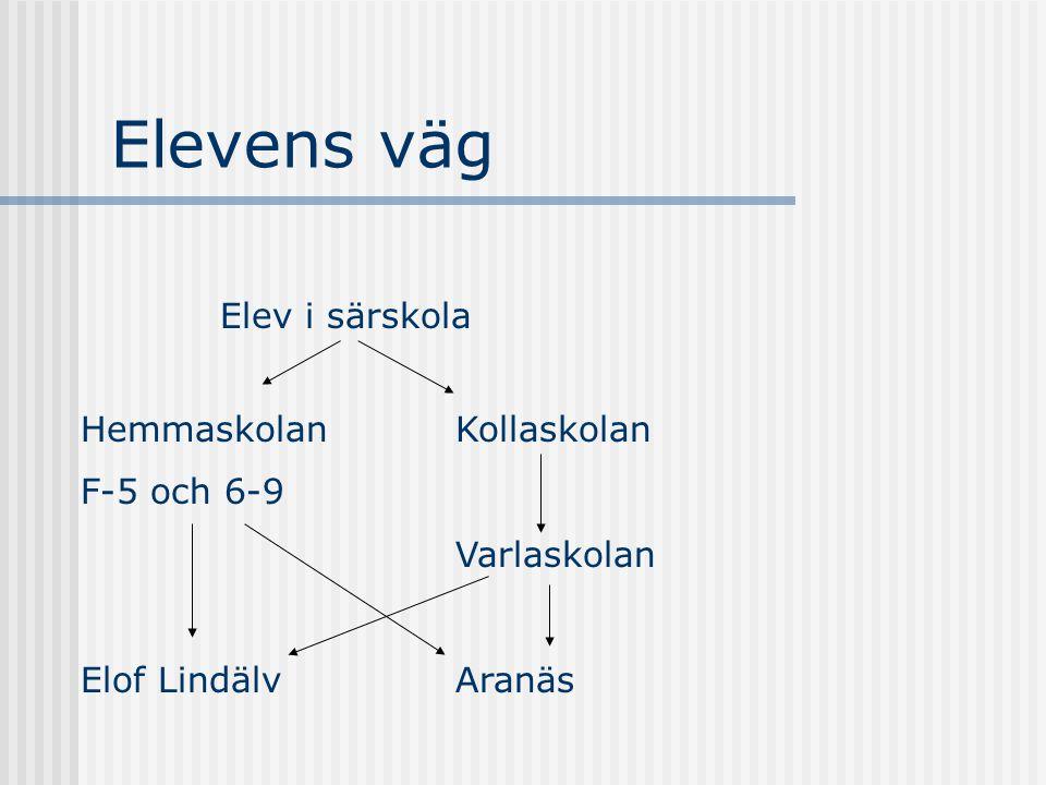 Elevens väg Elev i särskola Hemmaskolan F-5 och 6-9 Elof Lindälv