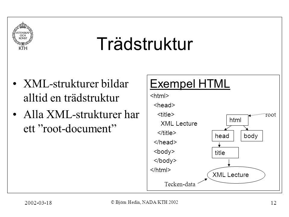 Trädstruktur XML-strukturer bildar alltid en trädstruktur
