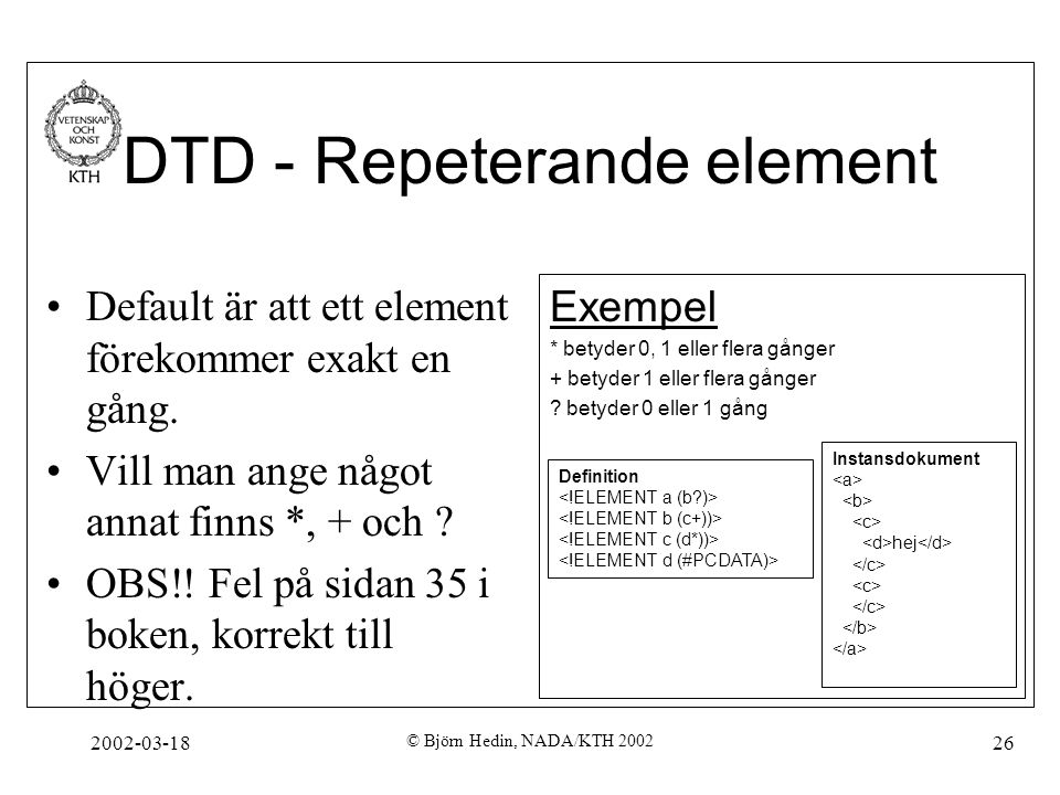 DTD - Repeterande element