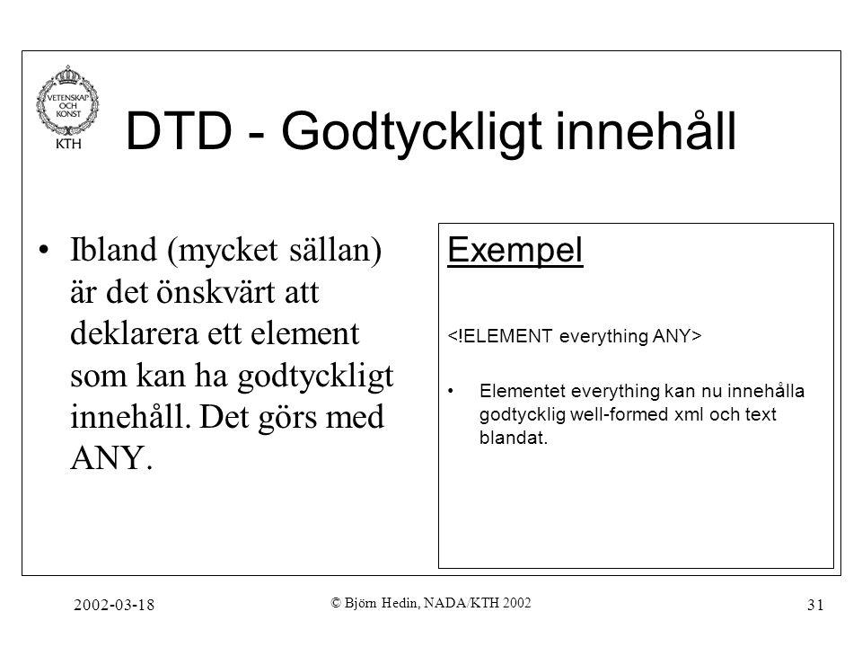 DTD - Godtyckligt innehåll