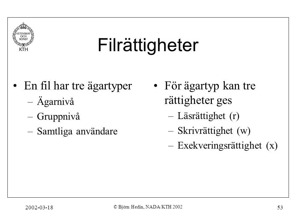 Filrättigheter En fil har tre ägartyper