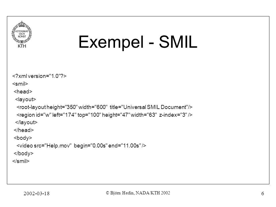 Exempel - SMIL < xml version= 1.0 > <smil> <head>