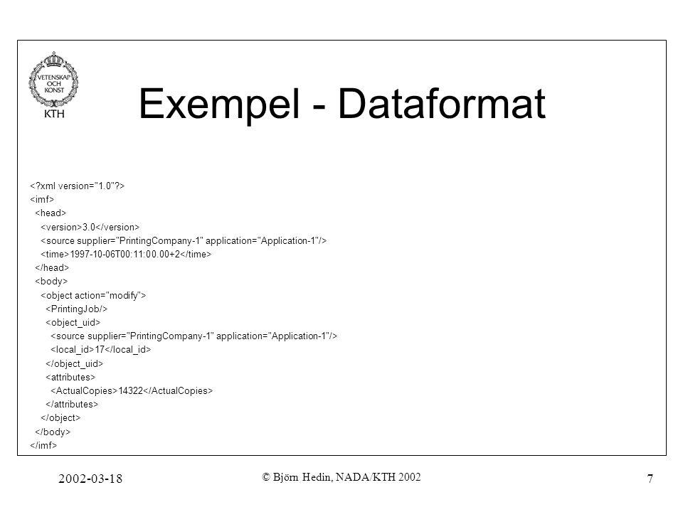 Exempel - Dataformat 2002-03-18 © Björn Hedin, NADA/KTH 2002