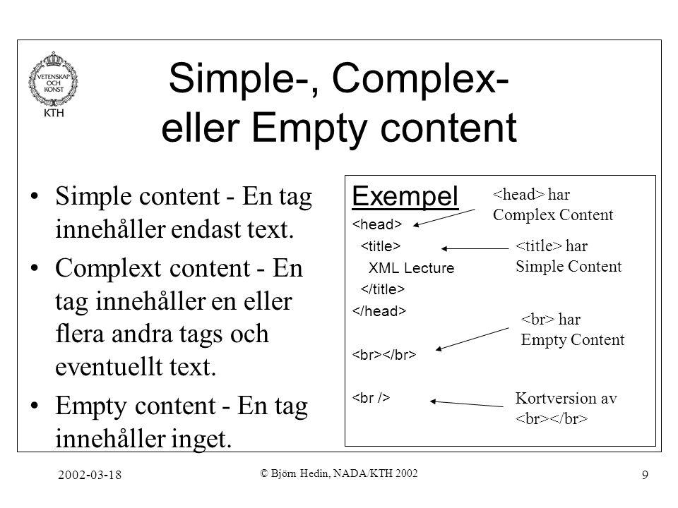 Simple-, Complex- eller Empty content