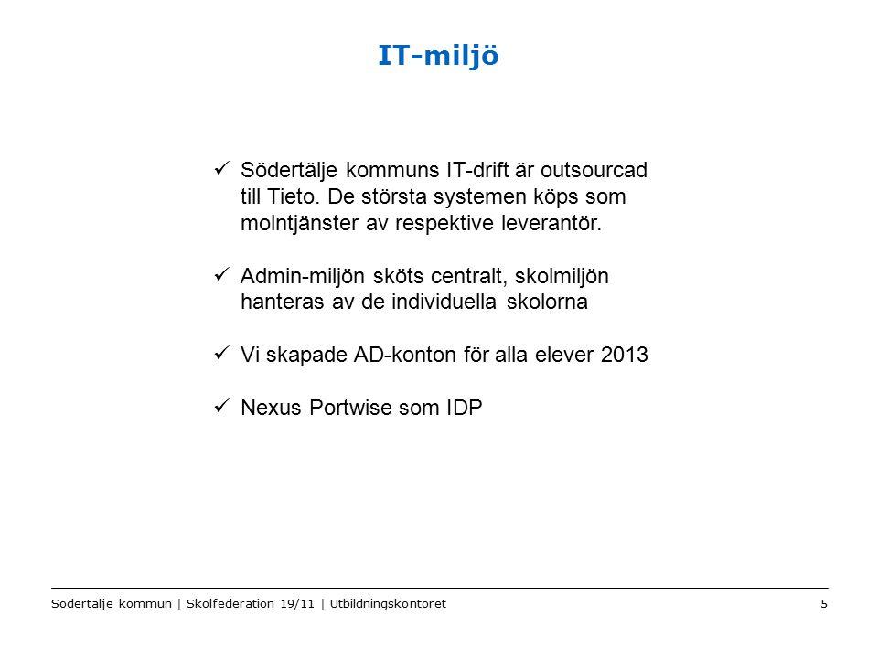 IT-miljö Södertälje kommuns IT-drift är outsourcad till Tieto. De största systemen köps som molntjänster av respektive leverantör.