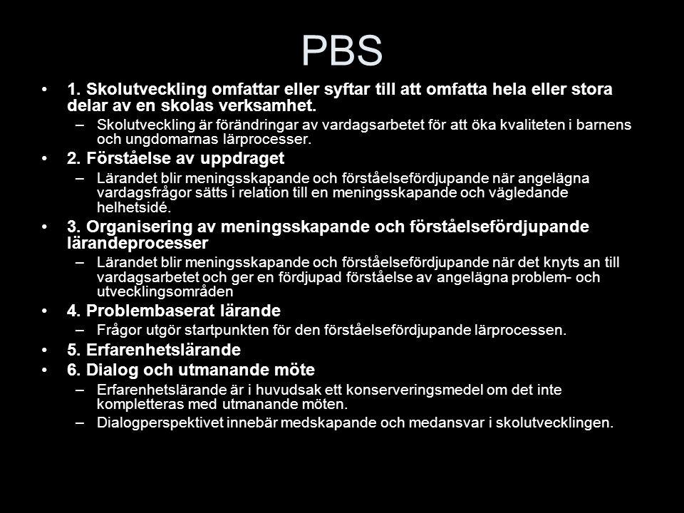 PBS 1. Skolutveckling omfattar eller syftar till att omfatta hela eller stora delar av en skolas verksamhet.