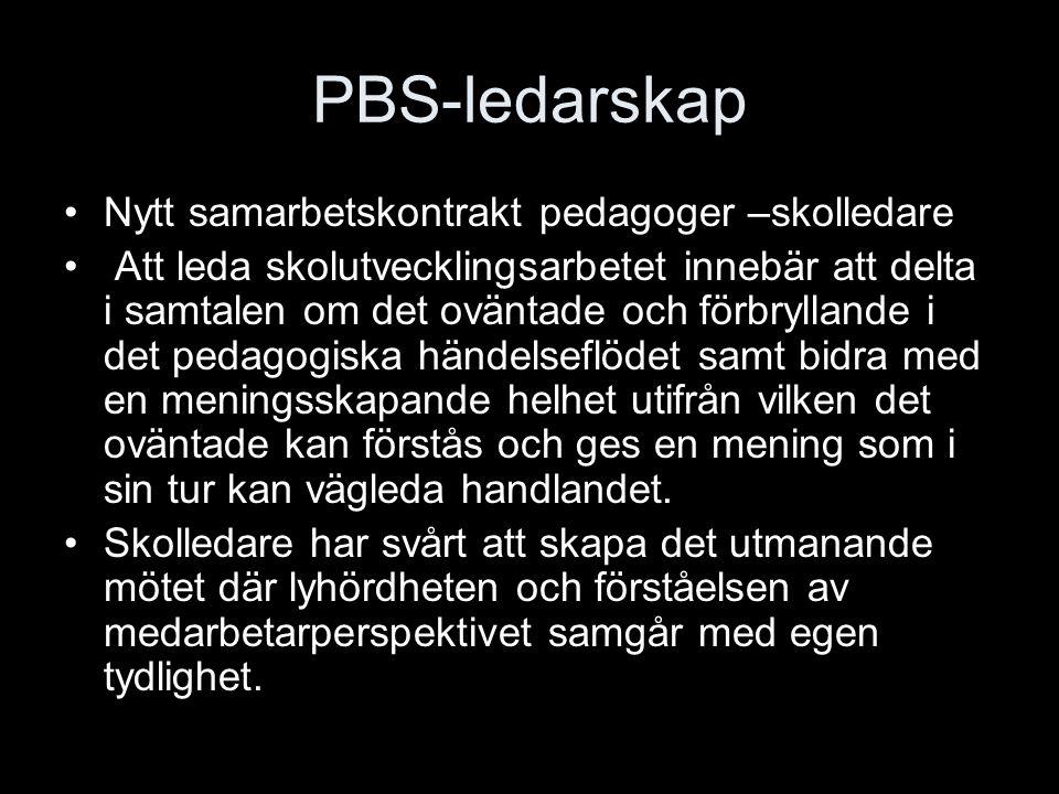 PBS-ledarskap Nytt samarbetskontrakt pedagoger –skolledare