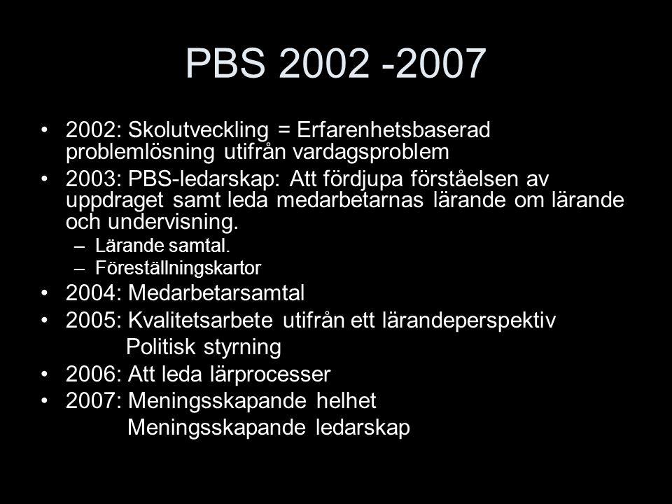 PBS 2002 -2007 2002: Skolutveckling = Erfarenhetsbaserad problemlösning utifrån vardagsproblem.