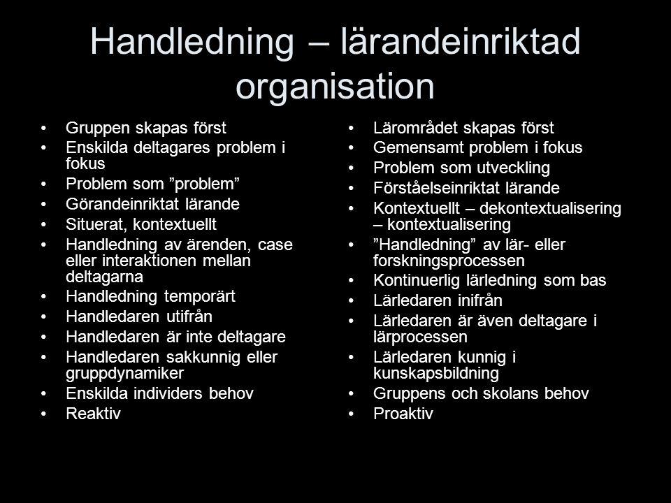 Handledning – lärandeinriktad organisation