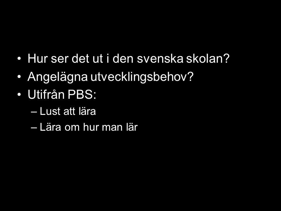 Hur ser det ut i den svenska skolan Angelägna utvecklingsbehov