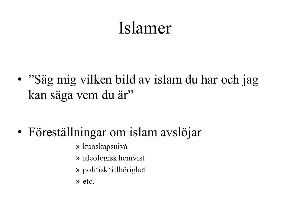 Islamer Säg mig vilken bild av islam du har och jag kan säga vem du är Föreställningar om islam avslöjar.