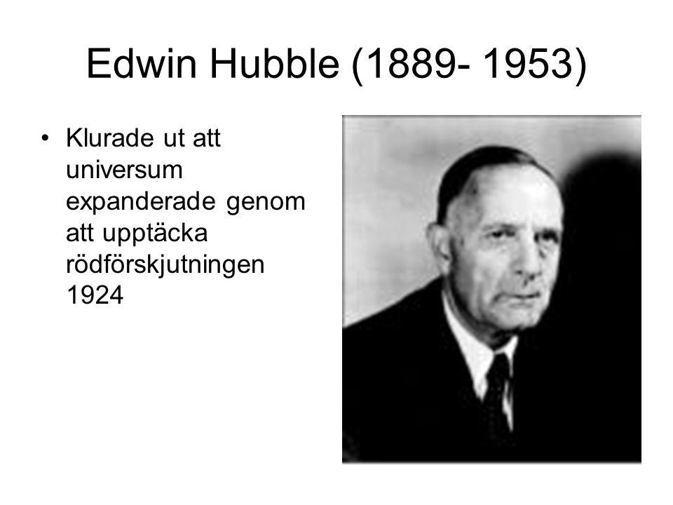 Edwin Hubble (1889- 1953) Klurade ut att universum expanderade genom att upptäcka rödförskjutningen 1924.
