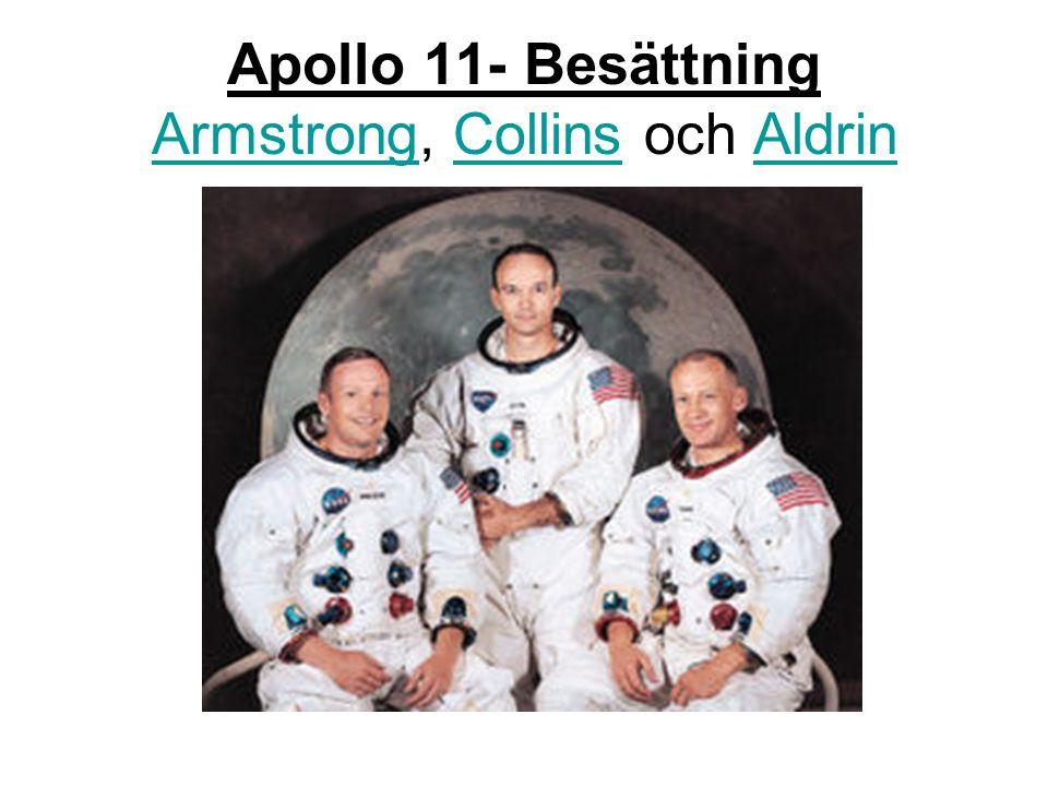 Apollo 11- Besättning Armstrong, Collins och Aldrin