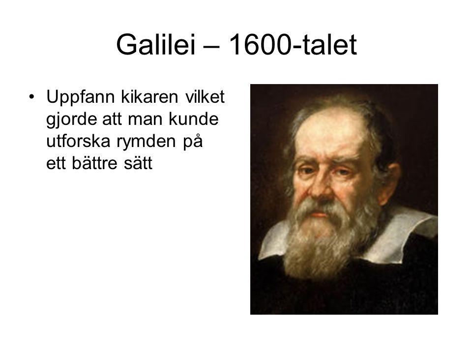 Galilei – 1600-talet Uppfann kikaren vilket gjorde att man kunde utforska rymden på ett bättre sätt