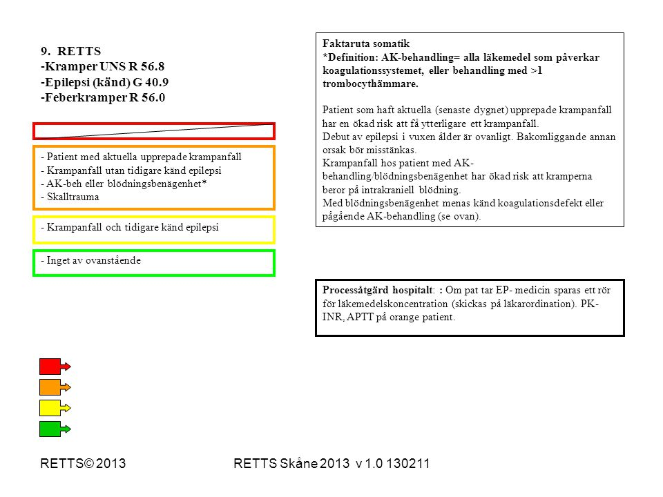 9. RETTS Kramper UNS R 56.8 Epilepsi (känd) G 40.9 Feberkramper R 56.0