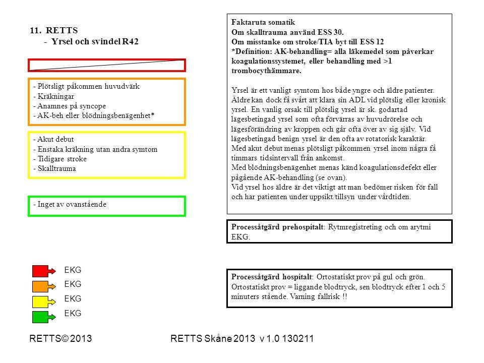 11. RETTS - Yrsel och svindel R42 RETTS© 2013