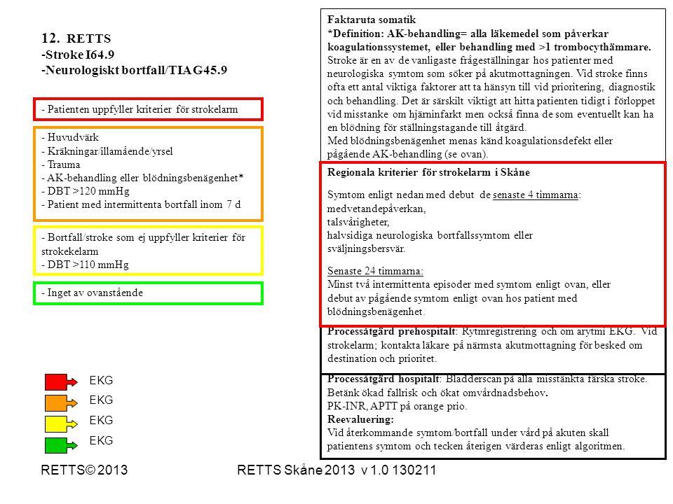 12. RETTS Stroke I64.9 Neurologiskt bortfall/TIA G45.9 RETTS© 2013