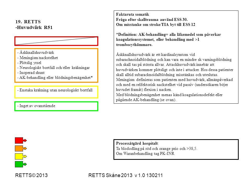 19. RETTS Huvudvärk R51 RETTS© 2013 RETTS Skåne 2013 v 1.0 130211