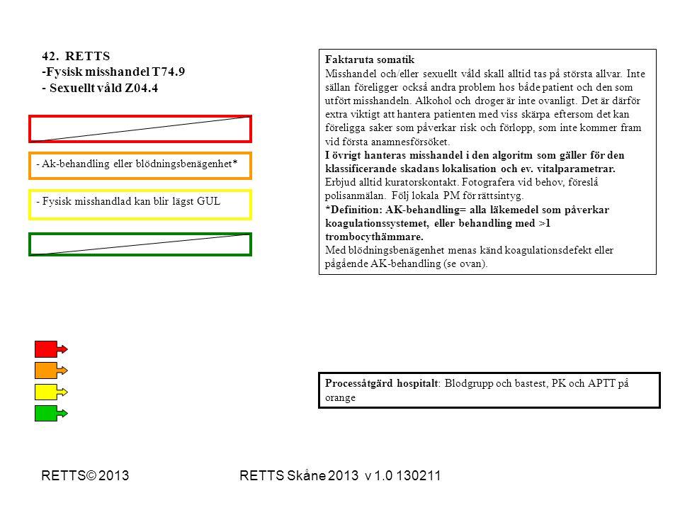 42. RETTS Fysisk misshandel T74.9 Sexuellt våld Z04.4 RETTS© 2013