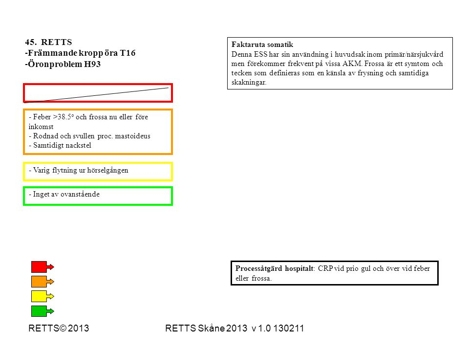 45. RETTS Främmande kropp öra T16 Öronproblem H93 RETTS© 2013