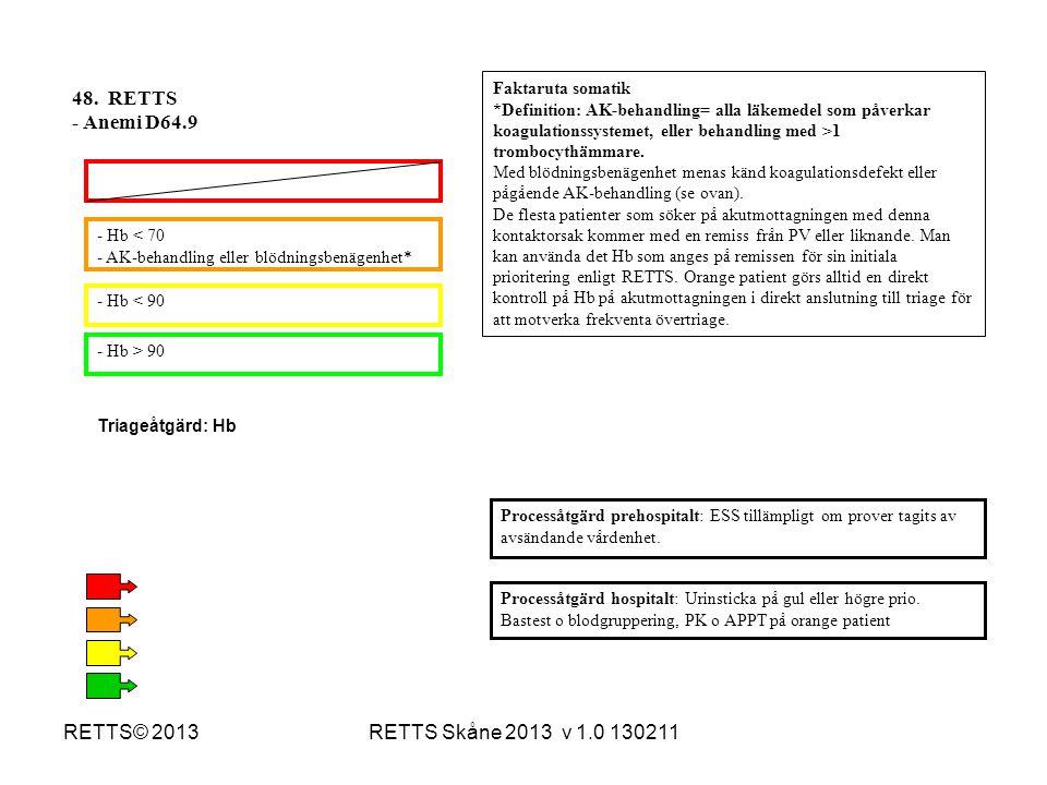 48. RETTS - Anemi D64.9 RETTS© 2013 RETTS Skåne 2013 v 1.0 130211