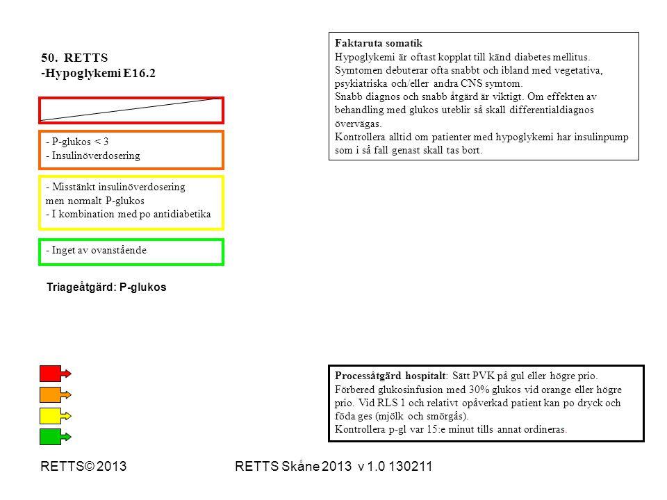 50. RETTS Hypoglykemi E16.2 RETTS© 2013 RETTS Skåne 2013 v 1.0 130211