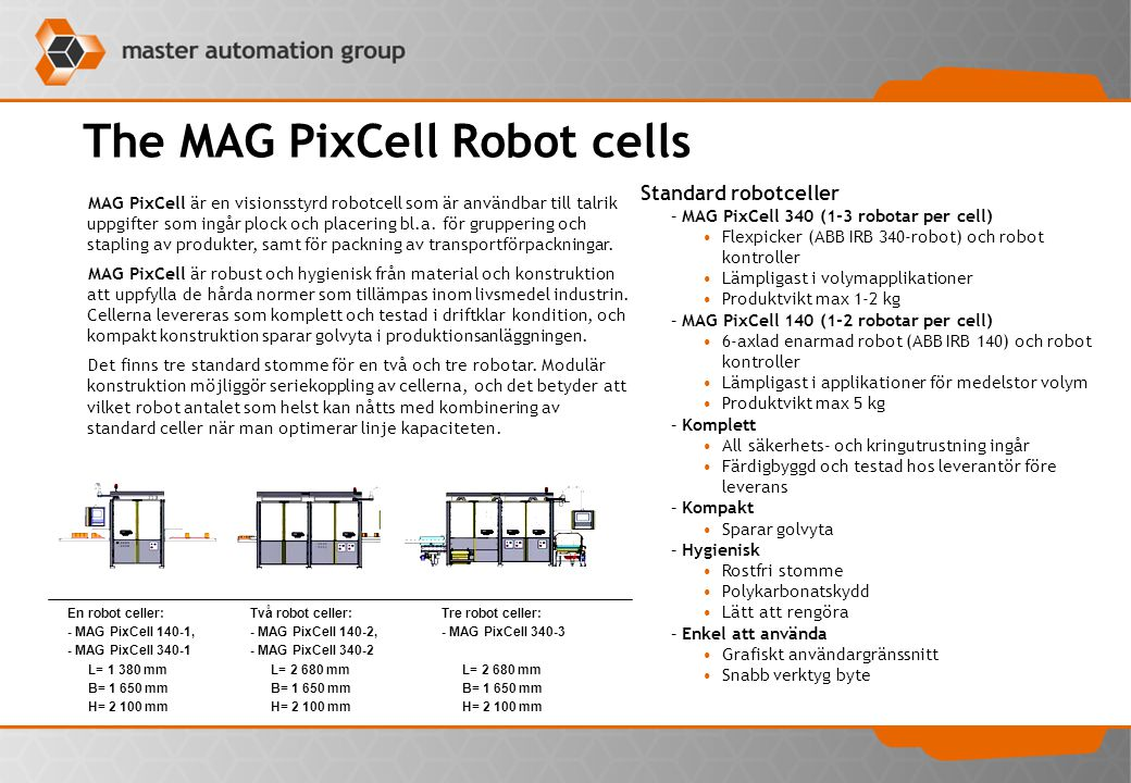 The MAG PixCell Robot cells