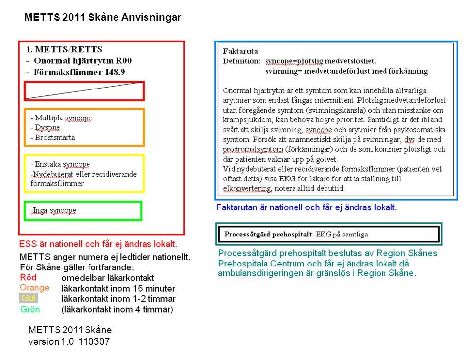 METTS 2011 Skåne Anvisningar