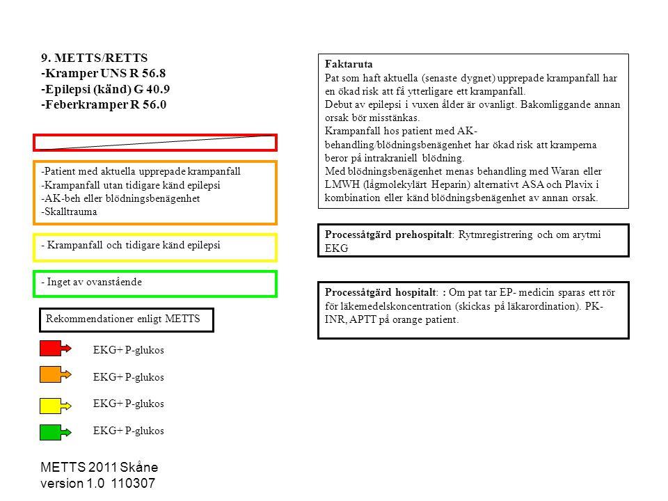 9. METTS/RETTS Kramper UNS R 56.8 Epilepsi (känd) G 40.9