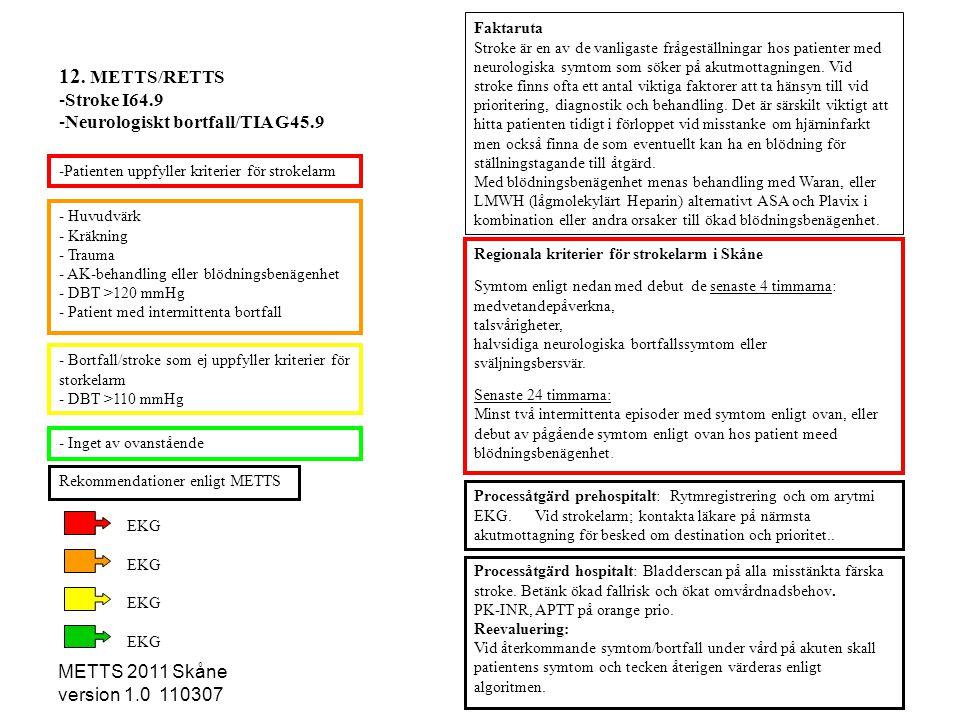 12. METTS/RETTS Stroke I64.9 Neurologiskt bortfall/TIA G45.9
