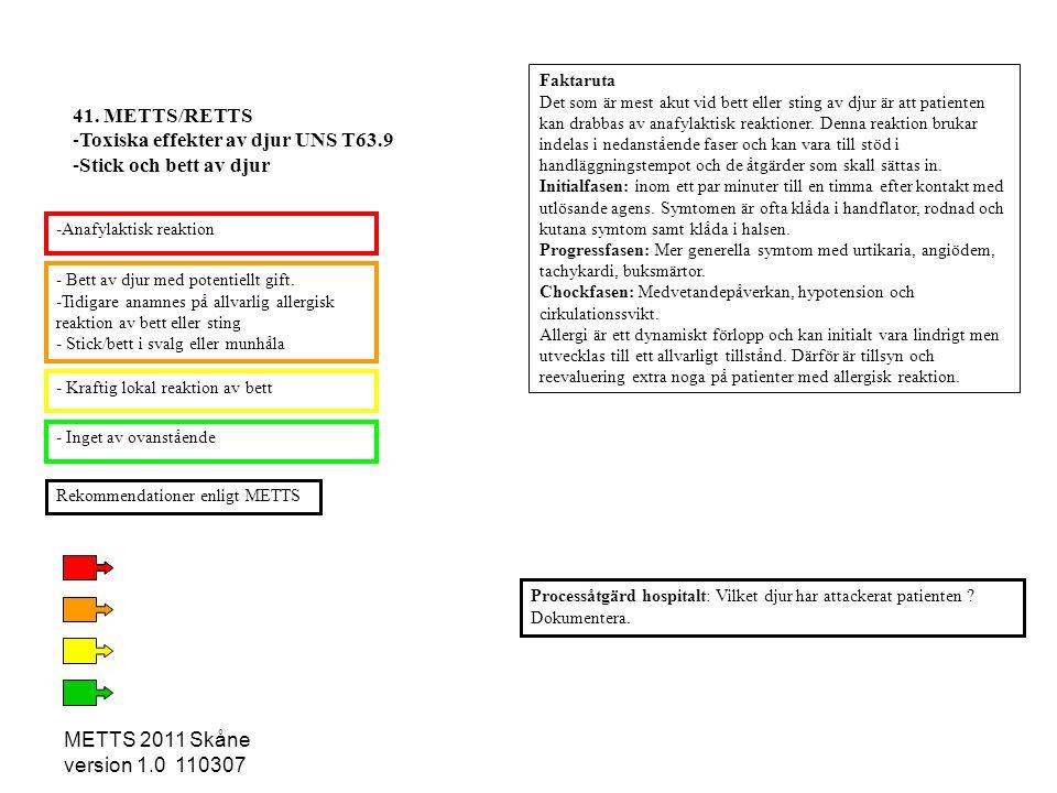 Toxiska effekter av djur UNS T63.9 Stick och bett av djur