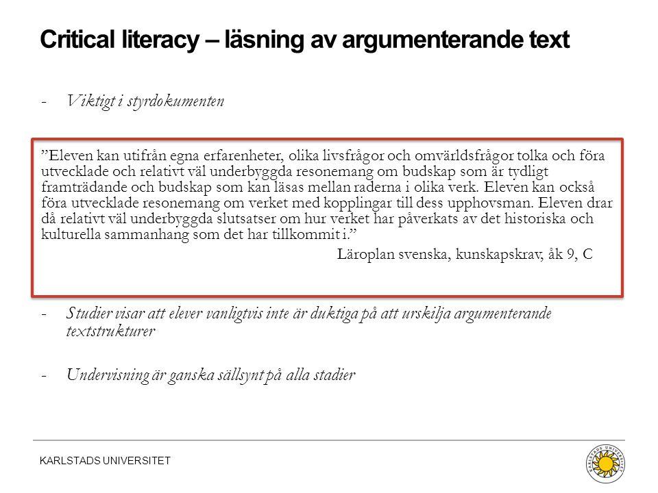 Critical literacy – läsning av argumenterande text