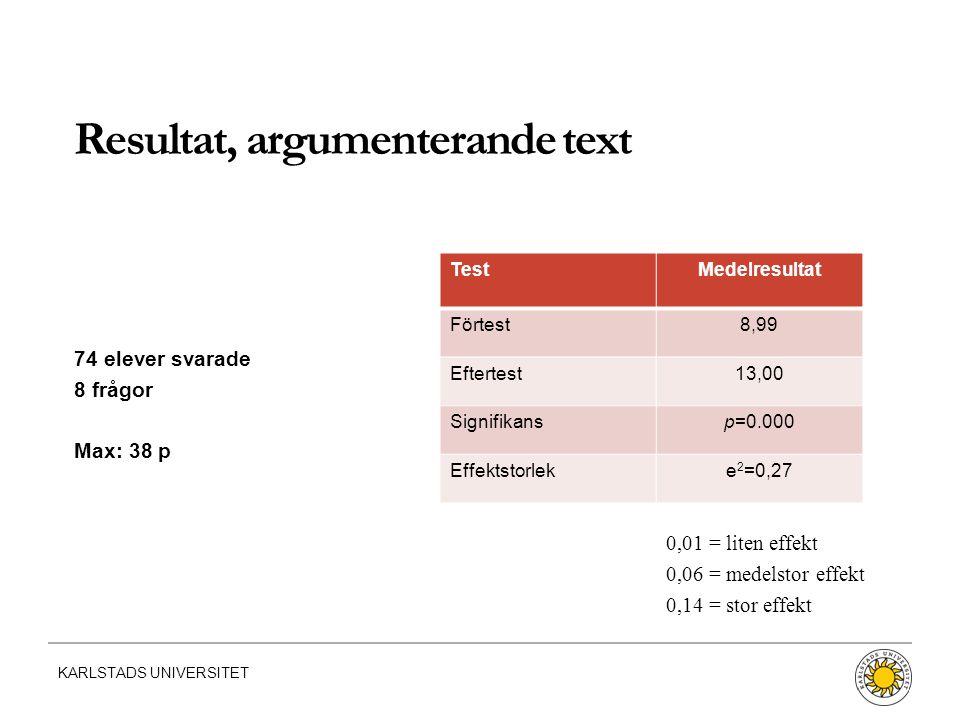 Resultat, argumenterande text