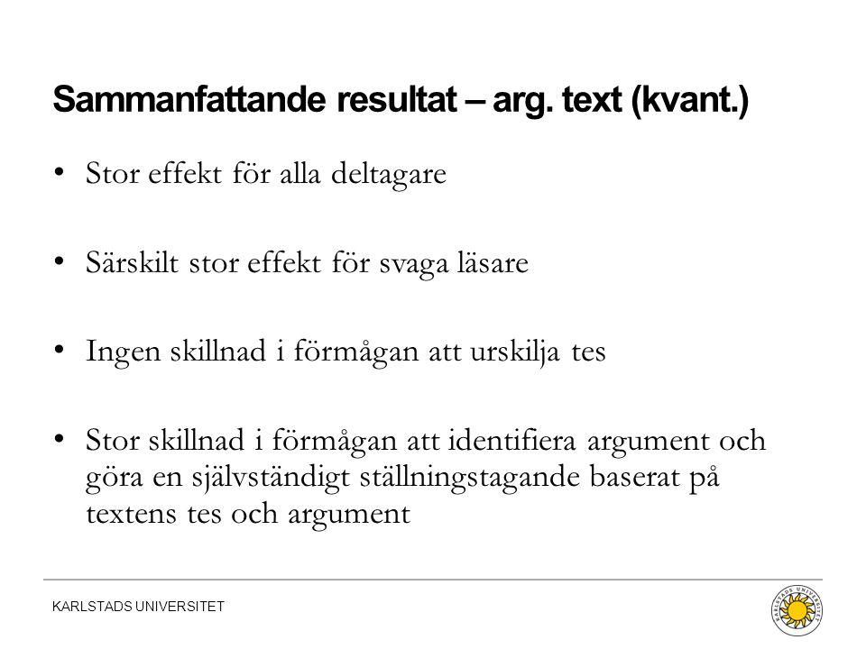 Sammanfattande resultat – arg. text (kvant.)