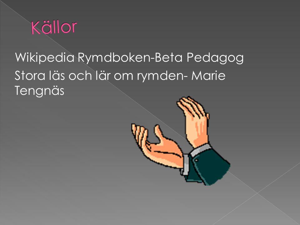 Källor Wikipedia Rymdboken-Beta Pedagog Stora läs och lär om rymden- Marie Tengnäs