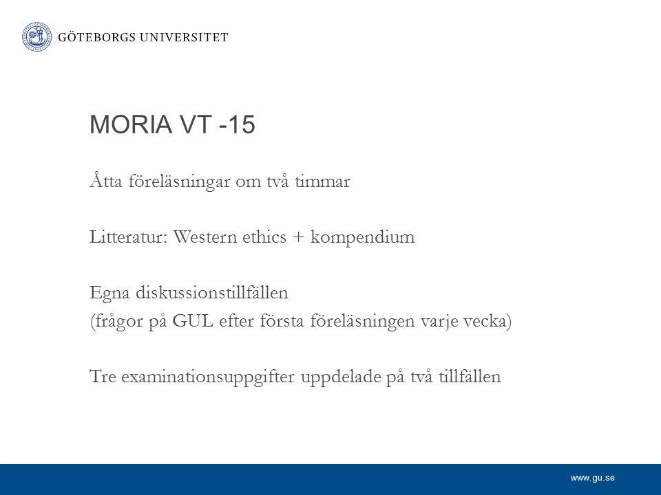 MORIA VT -15 Åtta föreläsningar om två timmar