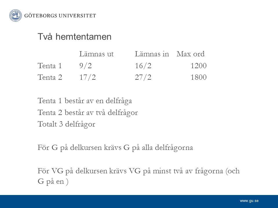 Två hemtentamen Lämnas ut Lämnas in Max ord Tenta 1 9/2 16/2 1200