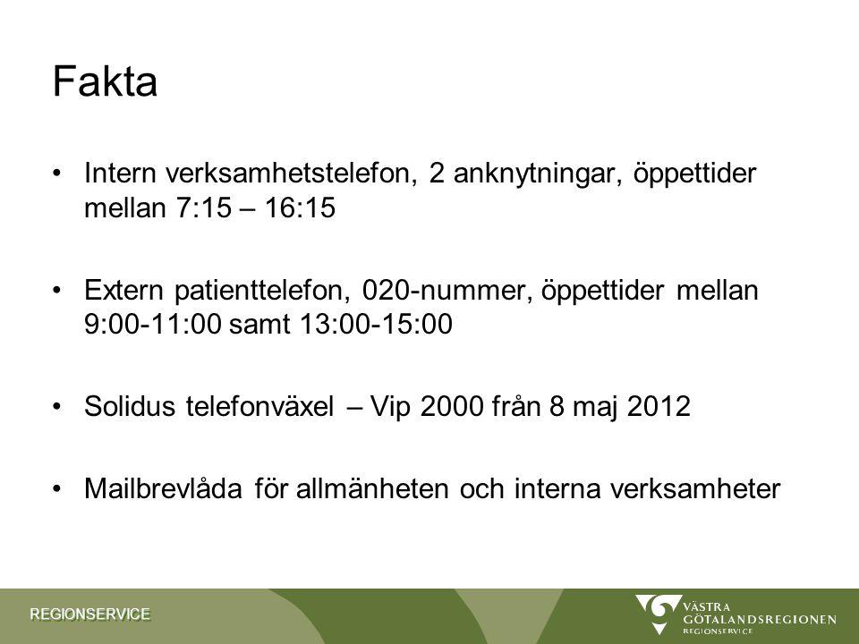 Fakta Intern verksamhetstelefon, 2 anknytningar, öppettider mellan 7:15 – 16:15.