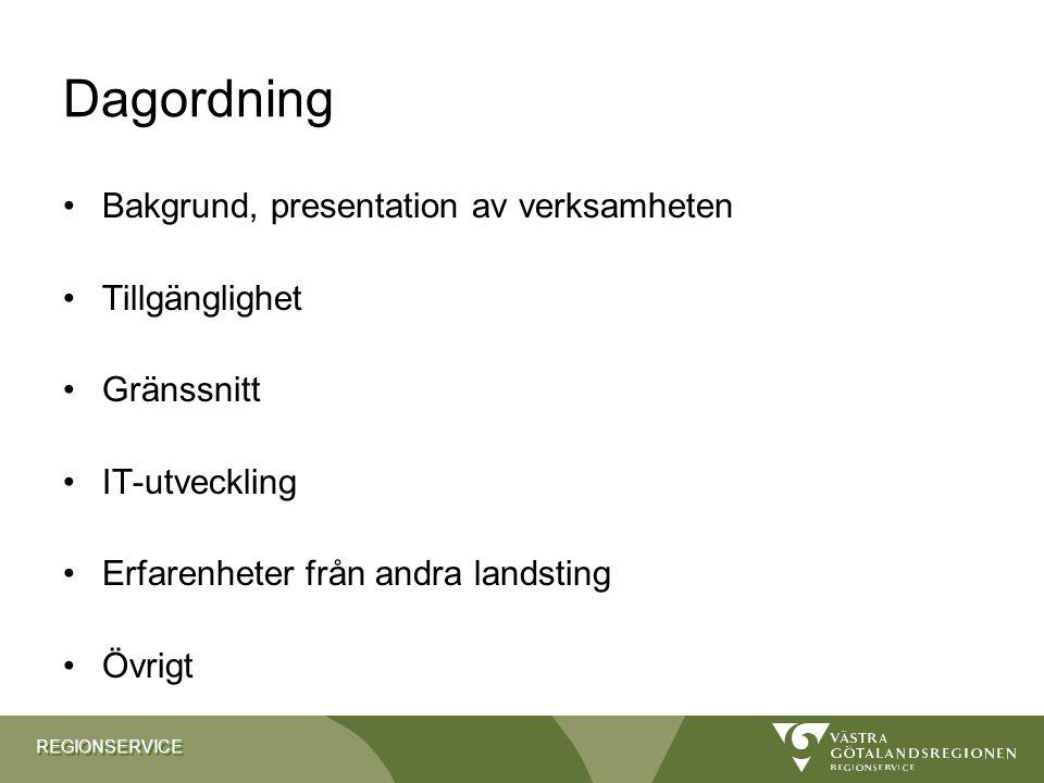 Dagordning Bakgrund, presentation av verksamheten Tillgänglighet