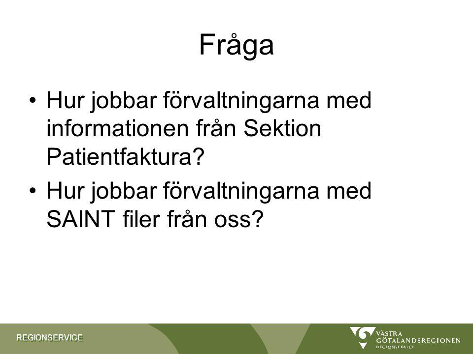 Fråga Hur jobbar förvaltningarna med informationen från Sektion Patientfaktura.